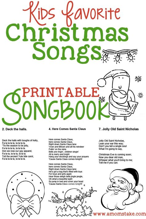 childrens christmas songs list songs for free printable songbook a s take