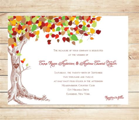 26 Fall Wedding Invitation Templates Free Sle Exle Format Download Free Premium Tree Wedding Invitations Templates