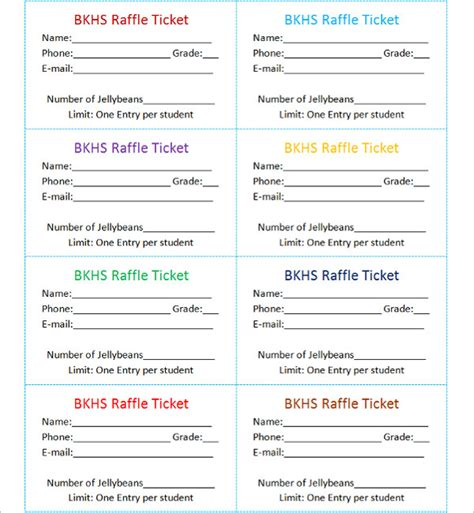 raffle sheet template 15 free raffle ticket templates
