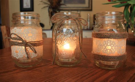 wedding centerpieces with jars and candles jars mod podge and dessert