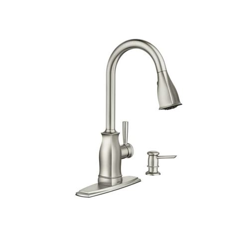moen kitchen faucet with soap dispenser moen ca87550 single handle kitchen faucet with pullout spray and soap dispenser spot resist