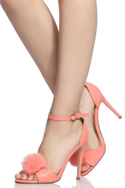 pink bottom high heels trendy s high heels pink faux leather fur pom