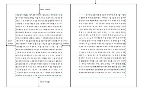 book layout margins requirements for hangul text layout and typography