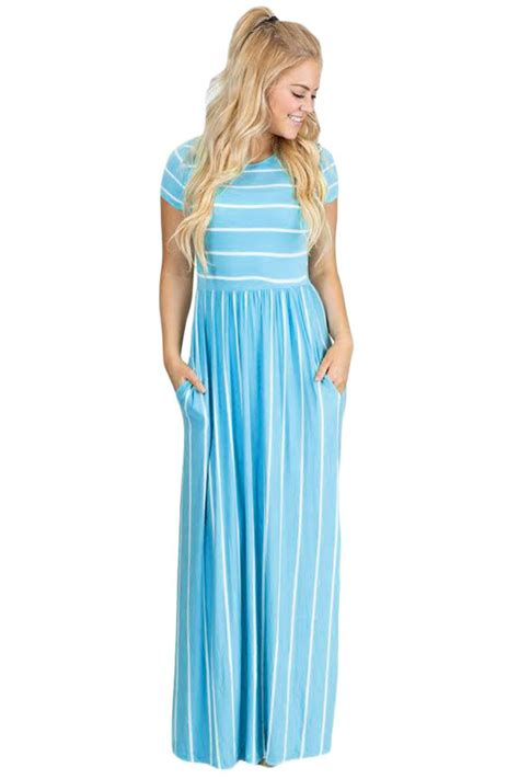 light blue and white striped maxi dress us 9 07 white striped light blue sleeve maxi dress