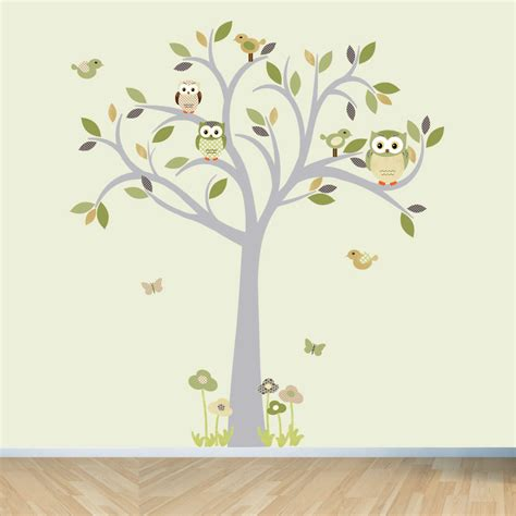Brown Tree Wall Decal Nursery Owl Wall Decal Tree Wall Decal Owl Tree Wall Sticker Moss