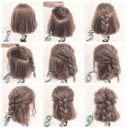 hair desings with plated hair messy half up braid hairstyle for short hair makeup mania