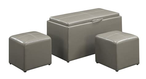 gray faux leather storage bench faux leather storage bench with 2 ottomans 48 82