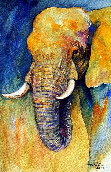 animal painting original watercolor elephant animal animal paintings elephants