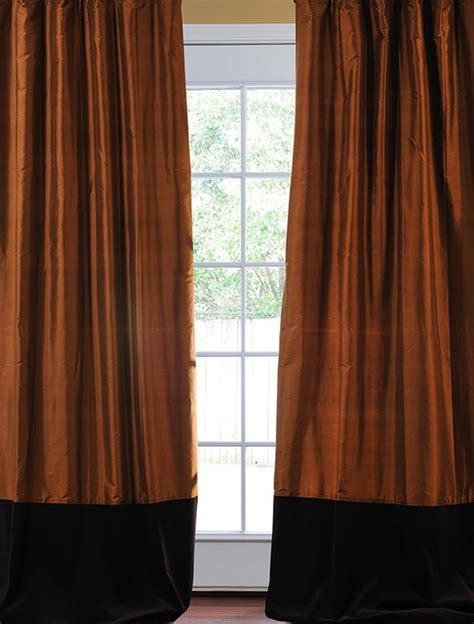 brown velvet curtains banded cayenne thai silk with kona brown velvet curtain