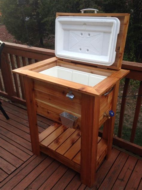 fan with ice compartment beautiful cedar wood ice cooler great deck patio box or