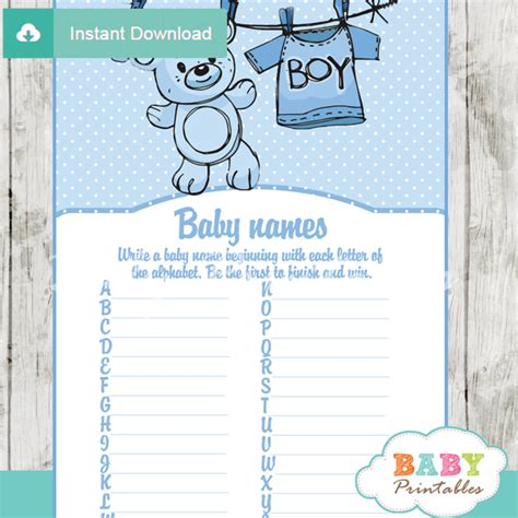 Baby Shower Baby Names by Blue Clothesline Baby Shower D151 Baby Printables