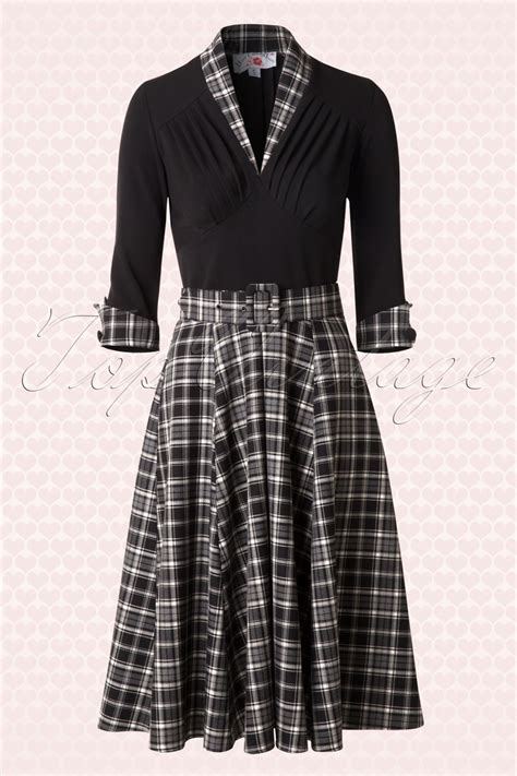tartan swing dress 50s kassandra swing dress in black tartan