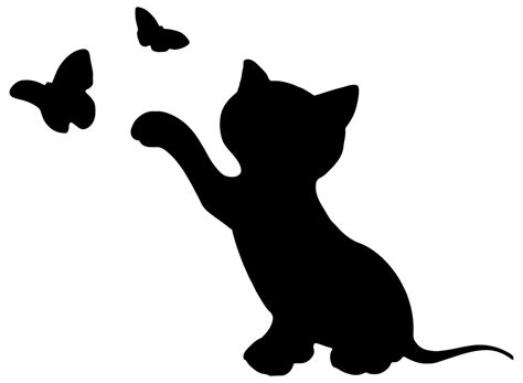 onlinelabels clip art kitten playing with butterflies