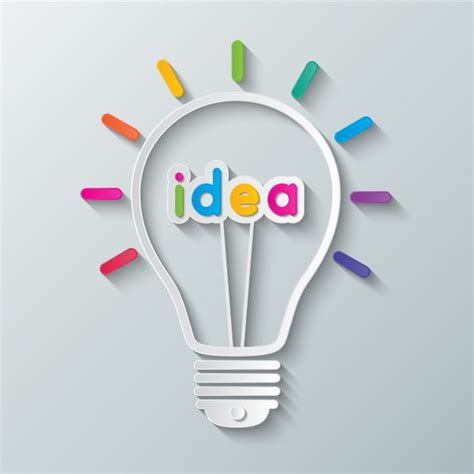 light ideas light bulb with the word quot idea quot vector free