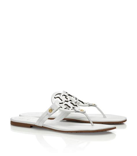 burch miller patent sandal lyst burch patent leather miller sandal in white