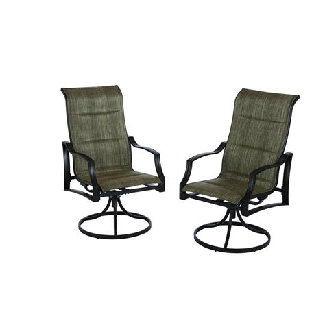 hton bay statesville padded sling swivel patio dining