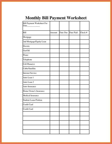 monthly bill spreadsheet template free bio exle