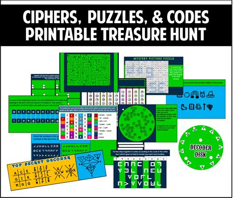 printable escape room free ciphers puzzles and codes treasure hunt