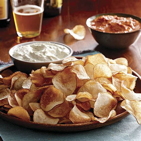 Handmade Chips - roasted pepper dip finecooking