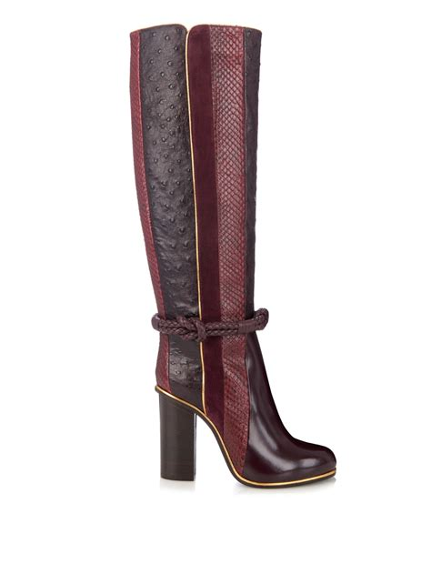 lanvin python leather and suede knee length boots in