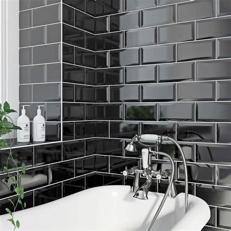 black gloss bathroom tiles metro black bevel gloss tile 100mm x 200mm victoriaplum com