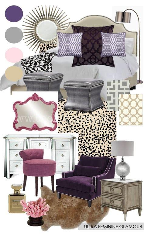 Blackmaster Purlple Brown ultra feminine bedroom mood board from www