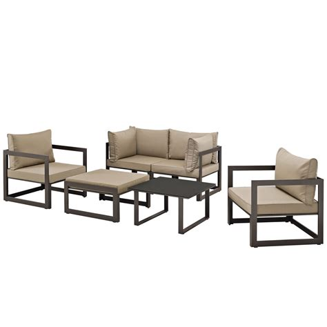 Sofa Fortuna fortuna 6pc outdoor patio sectional sofa set w upholstered