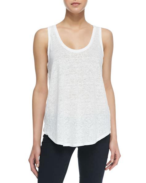 Sleeveless Line Top lyst splendid sleeveless linen jersey tank top white in white