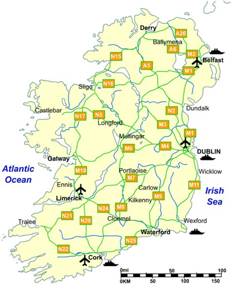 printable road maps ireland road map of ireland laminatoff