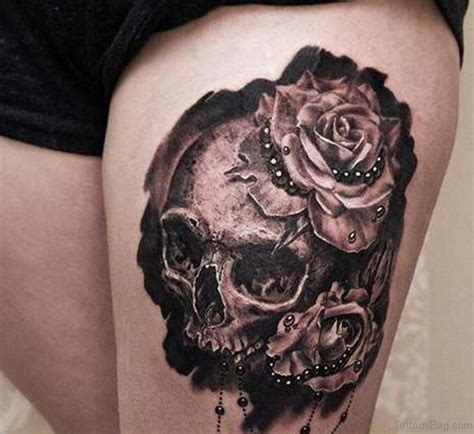 skull and roses thigh tattoo 74 superb tattoos on thigh
