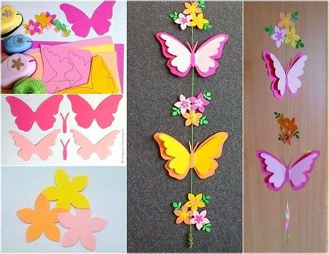 Butterfly Paper Craft - craft this adorable butterfly mobile for your room