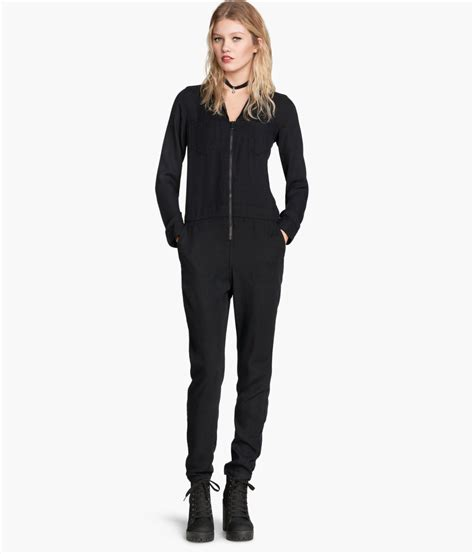 Jumpsuit M Fashion h m lyocell jumpsuit in black lyst