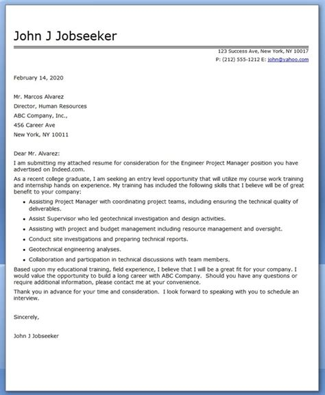 Project Manager Cover Letter Recent Graduate Cover Letter Engineer Project Manager Resume Downloads