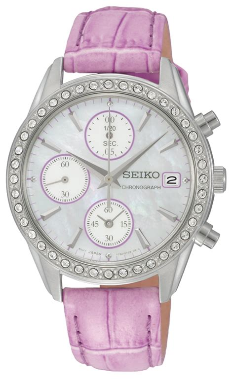 seiko chronograph with pink leather