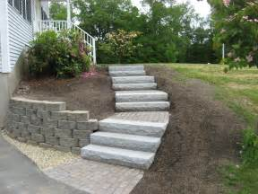 Retaining Wall Stairs Design Walkway Retaining Wall Granite Steps And Brick Headwall Kingston Nh Labrie Property