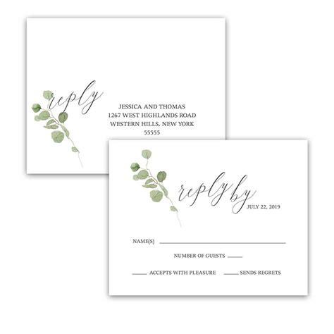 wedding rsvp cards postcard style eucalyptus wedding program watercolor greenery design
