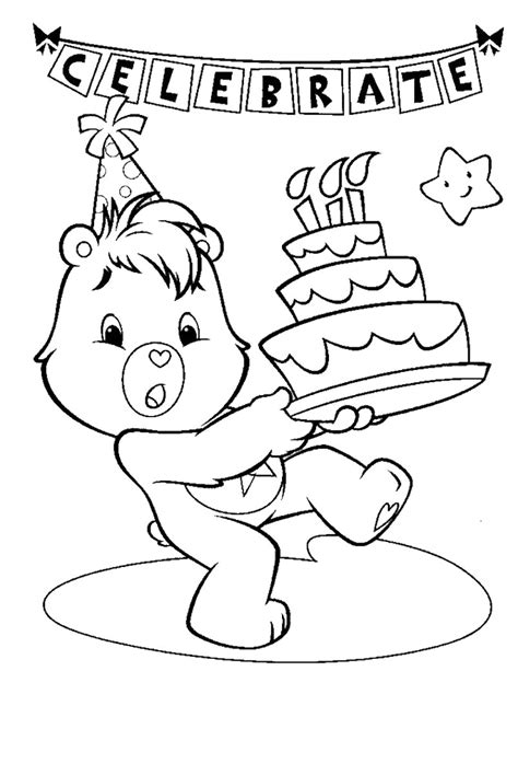 birthday bear coloring pages care bear coloring pages coloringsuite com