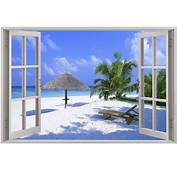 Details About Huge 3D Window View Exotic Beach Wall Sticker Film Mural