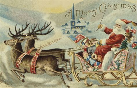 best art of santa and eight teindeer vintage feast cards search images images