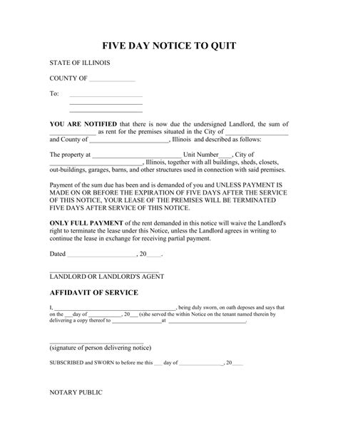 Illinois 5 Day Notice To Quit Form Non Payment Of Rent Eforms Free Fillable Forms Eviction Notice Illinois Template