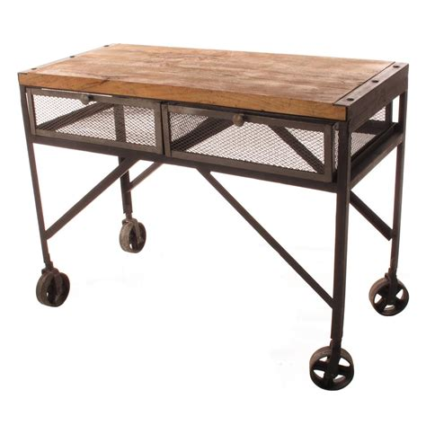 Tribeca Industrial Mesh Drawer Caster Wheel Console Table Sofa Table On Wheels