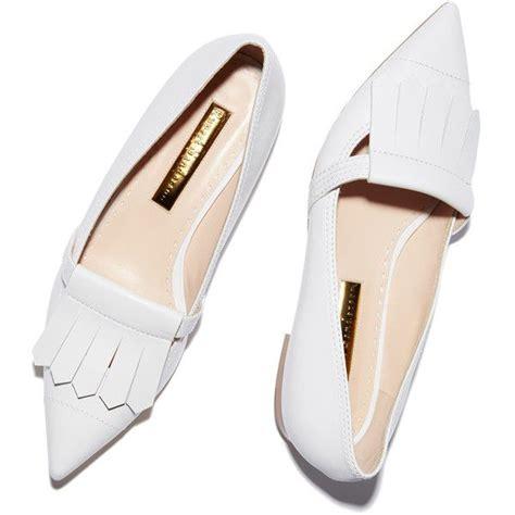 white flat pointed shoes rupert sanderson gretna white calf fringe flat goop liked