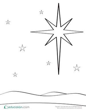 coloring pages of the christmas star worksheets education com