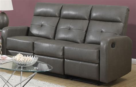 85gy 3 charcoal grey bonded leather reclining sofa 85gy 3
