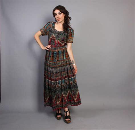 Etnic Maxy Dress 80s indian cotton dress semi sheer ethnic print maxi