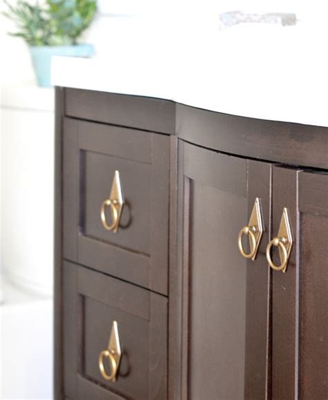 Vanity Handles And Knobs Green Gold Bathroom Makeover Centsational