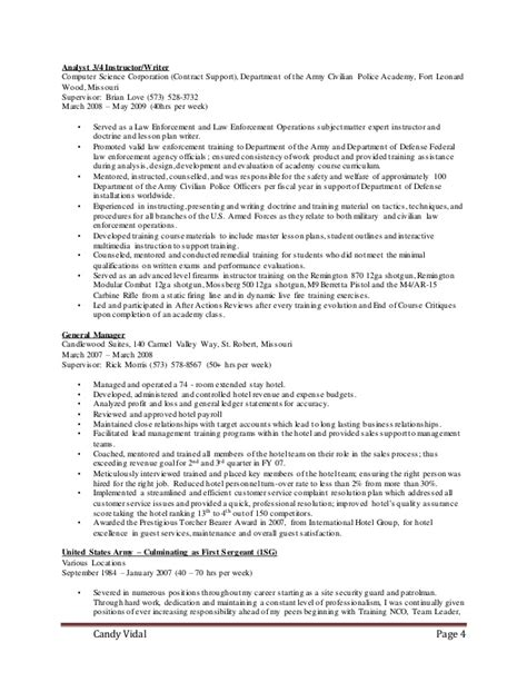 Army Sergeant Resume by Resume Drill Sergeant To Civilian