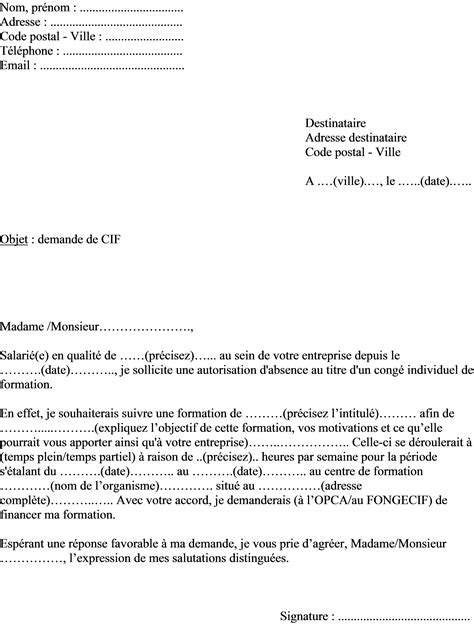 Demande De Cong Bonifi Lettre Type mod 232 le de lettre demande cong 233 individuel de formation
