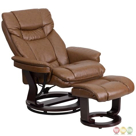 Leather Recliner With Ottoman Contemporary Palimino Leather Recliner Ottoman W Swiveling Mahogany Wood Base