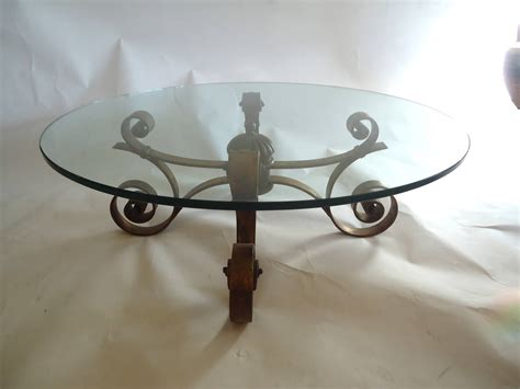 Glass Wrought Iron Coffee Table Glass And Gilded Wrought Iron Coffee Table At 1stdibs